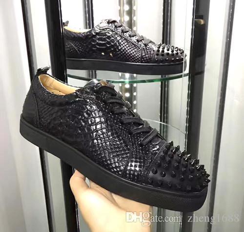 Toptan Düşük En Python Hatları Siyah Rugan Kırmızı Alt Sneakers Ayakkabı Kadınlar, Erkekler Açık Moda Casual Yürüyüş Trainer