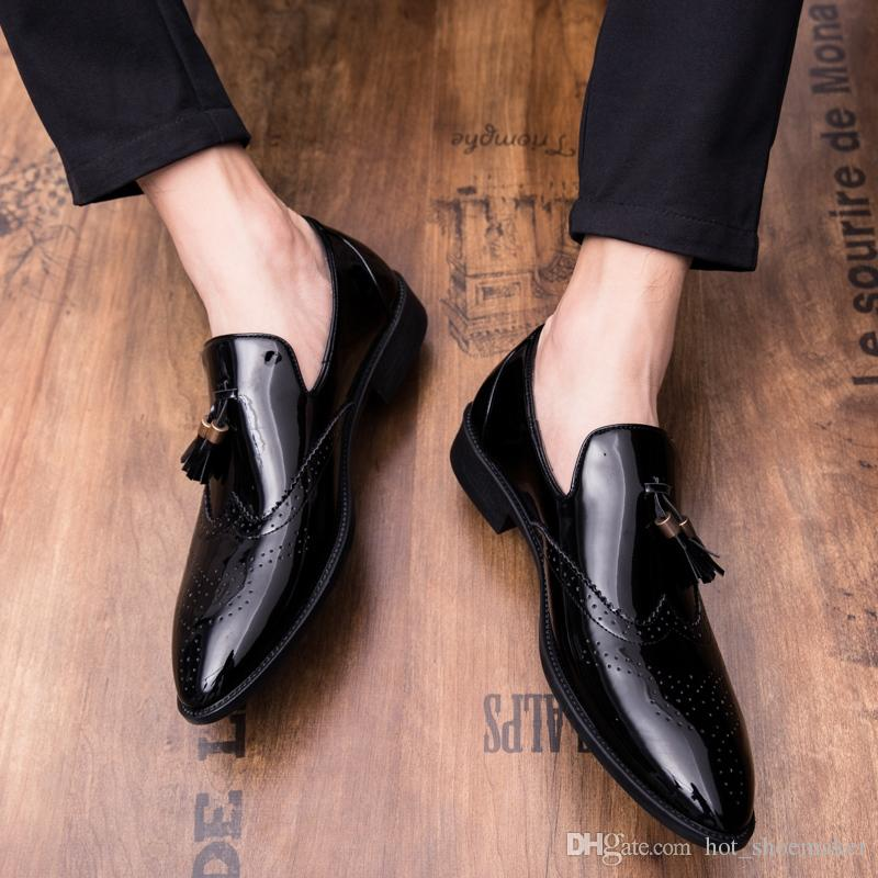 Hot Mens loafer formal dress Shoes Leather slip on business oxford shoe black