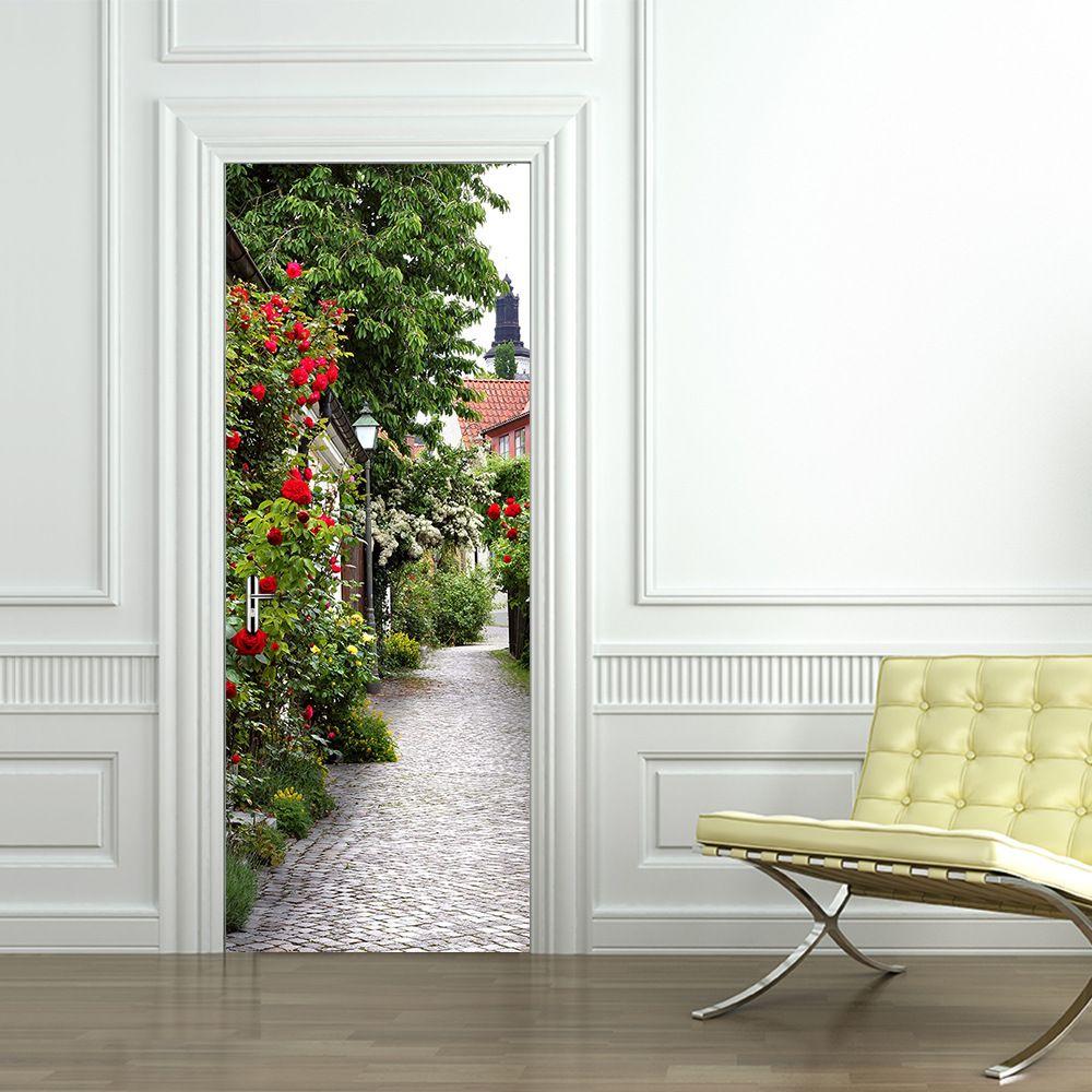 Venta al por mayor 2 UNIDS / Set 77 * 200 cm Rosas en la ciudad Pegatinas de la puerta DIY Mural Dormitorio Pegatinas Puerta de vinilo Poster Decoración para el hogar
