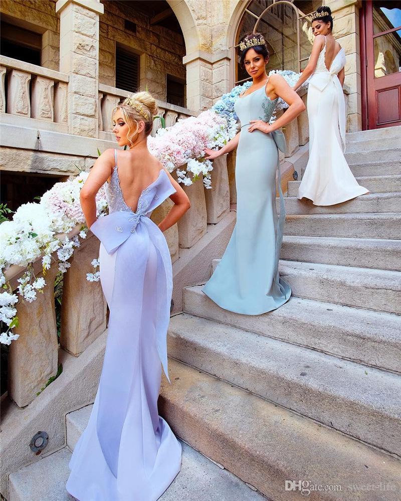Mütevazı Mermaid Gelinlik Modelleri Büyük Yay ile Seksi Spagetti Sapanlar Backless Düğün Konuk Abiye Dantel Aplikler Saten Onur Hizmetçi Elbise