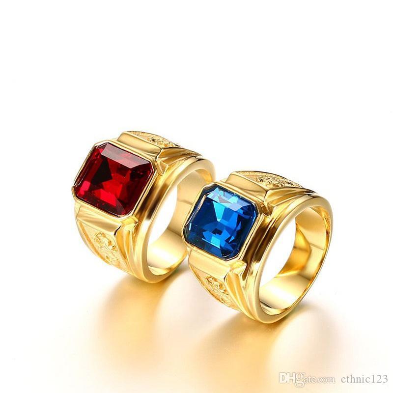 Золотой Цвет Мода Простой мужской Драгоценный Камень Кольца Из Нержавеющей Стали Кольцо Ювелирные Изделия Подарок для Мужчин Мальчиков J183