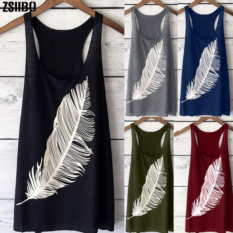 Tops for Women 2019 Summer Feather Print Vest Loose Fashion Sleeveless Round Neck T-shirt Plus Size 5xl Women's Shirt XFS67