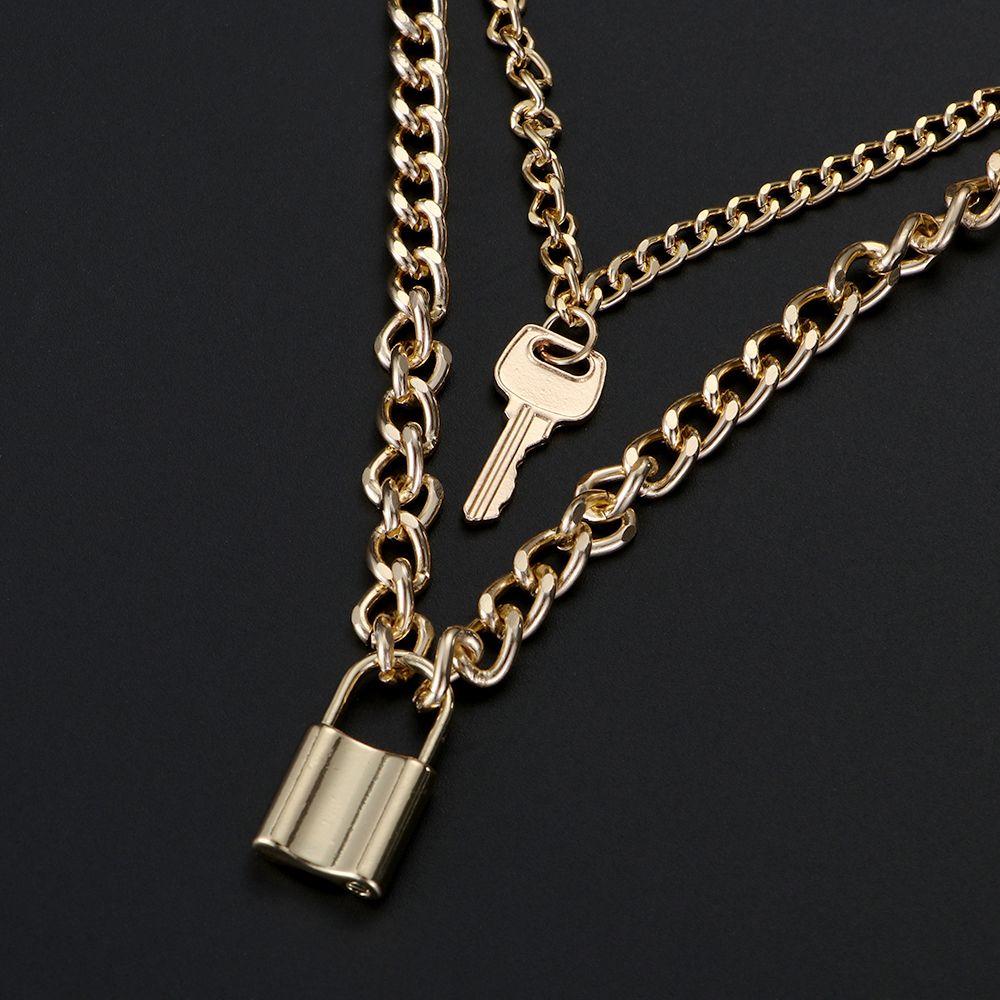 Мода Choker блокировки ожерелье Многоуровневая цепи на шее с замком ювелирных ключей Замок ожерелье для женщин подарка