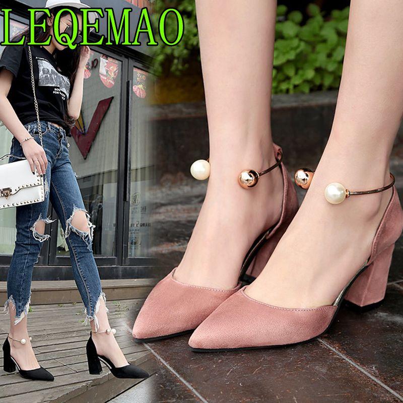 Women Pumps Beads Slip On Metal Decor Pointy Toe Block Heels OL Casual Shoes HOT