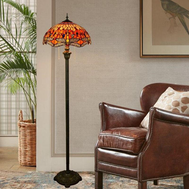 interruptor de pé Art Floor Lamp restaurantes café mão soldada Piso Luz E27 Tiffany da libélula Vitral lâmpadas DS016