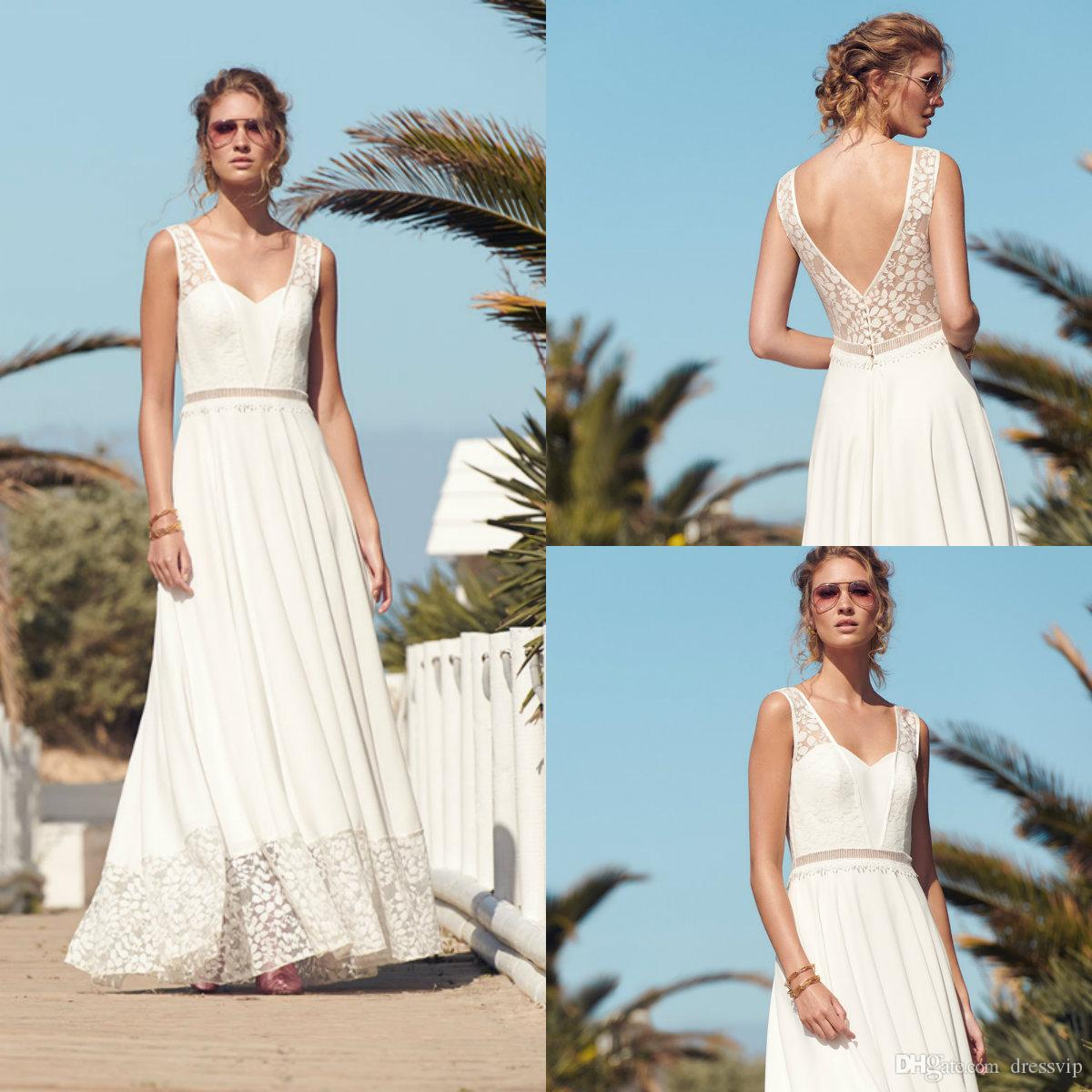 2020 Boho Wedding Dresses Lace Appliqued A Line V Neck Floor Length Bohemian Wedding Dress Custom Made Sexy Back Cheap Bridal Gowns