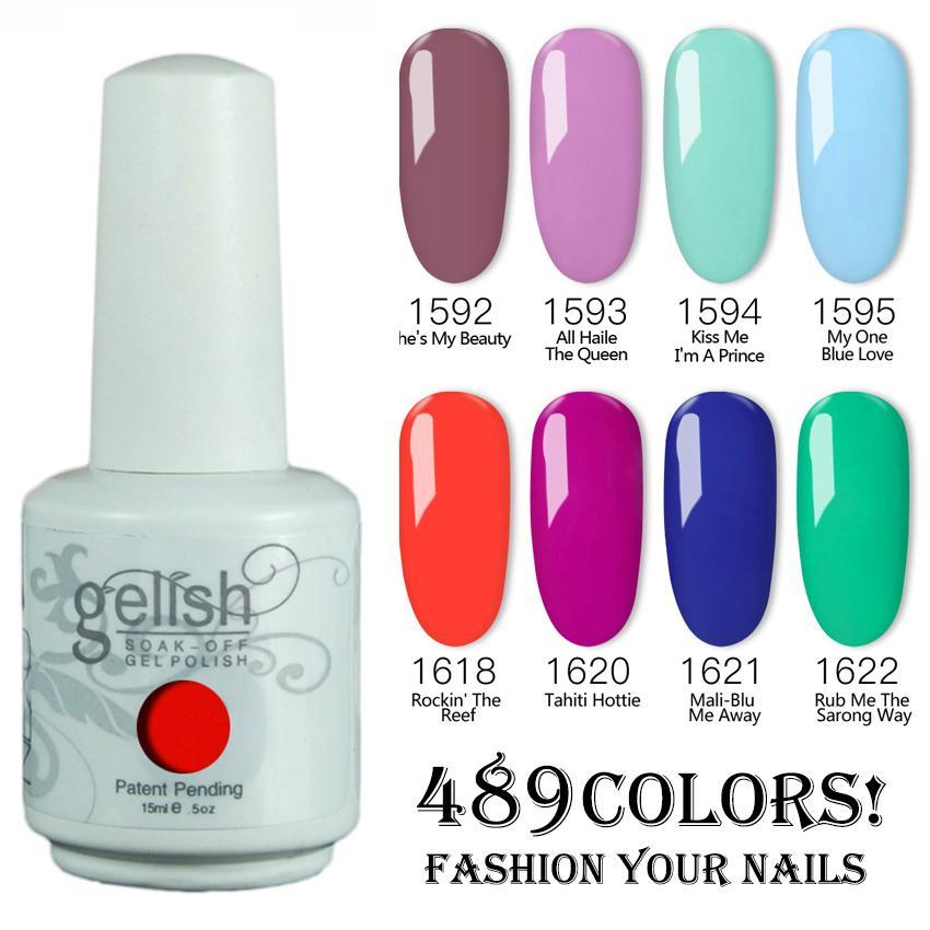 12 pçs / lote Harmony Gelish Nail Polonês Soak Off Gelcolor Polonês Cores LED UV Gel polonês 489 Cores!