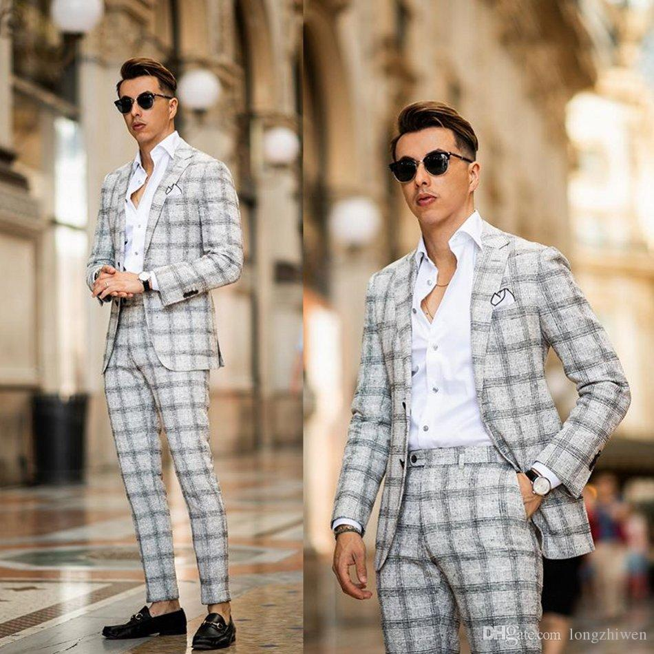 Dos pedazos con traje para hombre Damier Traje de novio Trajes de boda para los mejores hombres Slim Fit Groom Tostes de alta calidad de Mariage Pour Hommes
