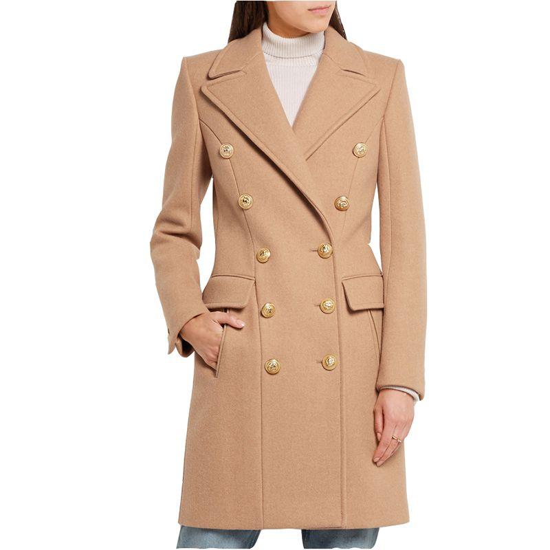 Nuovi cappotti di lana da donna invernali elegante doppio petto stile cammello nero Cappotto di lana medio lungo versatile Abbigliamento femminile