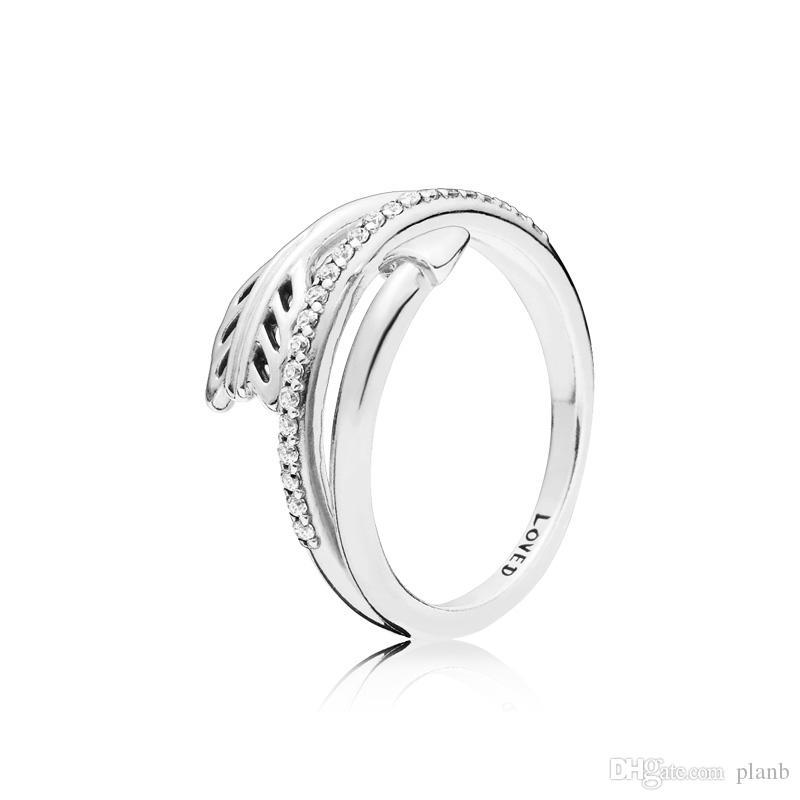 Nouvelle arrivée 925 Sterling Silver Love Bague Original Boîte pour Pandora Sparkling Arrow Bague Femmes Designer de luxe CZ Diamond Anneaux Set