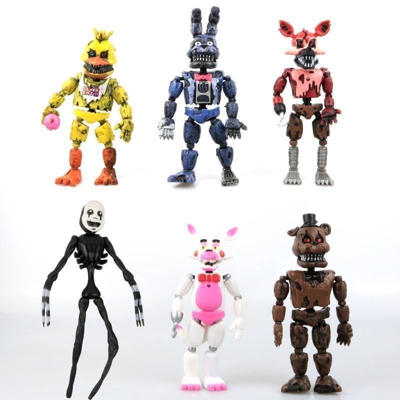 14.5-17 Cm 6 Pcs / Batch Pvc 액션에서의 5 일 밤 Fnaf Bonnie 's Fazbear - Freddy Bear Dolls Toys 애니메이션 고양이 소녀