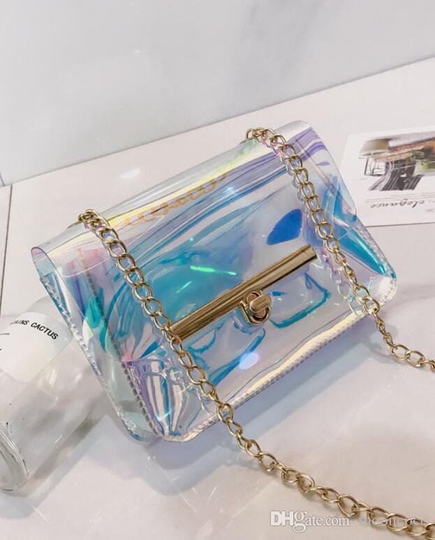 Luxus Transparent Hologramm laser Tasche Hologramm Kupplung Geldbörse Nettes Mädchen Make-Up Tasche Party Handtasche eimer tasche 2019 Neu