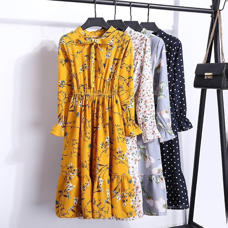 Gasa Partido altura de la cintura elástico vestido de arco de una línea de Mujeres Flor completo de la manga de la impresión floral de Bohemia vestido Vestido Mujer Plus Tamaño T200623