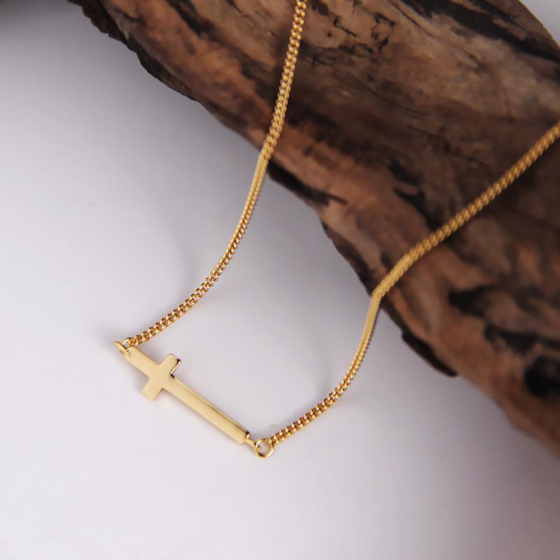 Silvology 925 Sterling Silver Cross Choker ожерелье Элегантные цепи ожерелье Минималистских Боком для женщин 925 Wild Простых ювелирных изделий