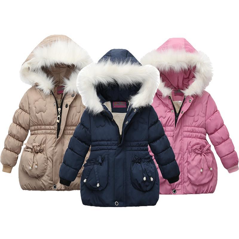 Espesar niñas chaqueta de terciopelo invierno caliente larga de algodón con capucha estilo Abrigos para niñas de vestir exteriores de los niños regalo de Navidad ropa de los muchachos