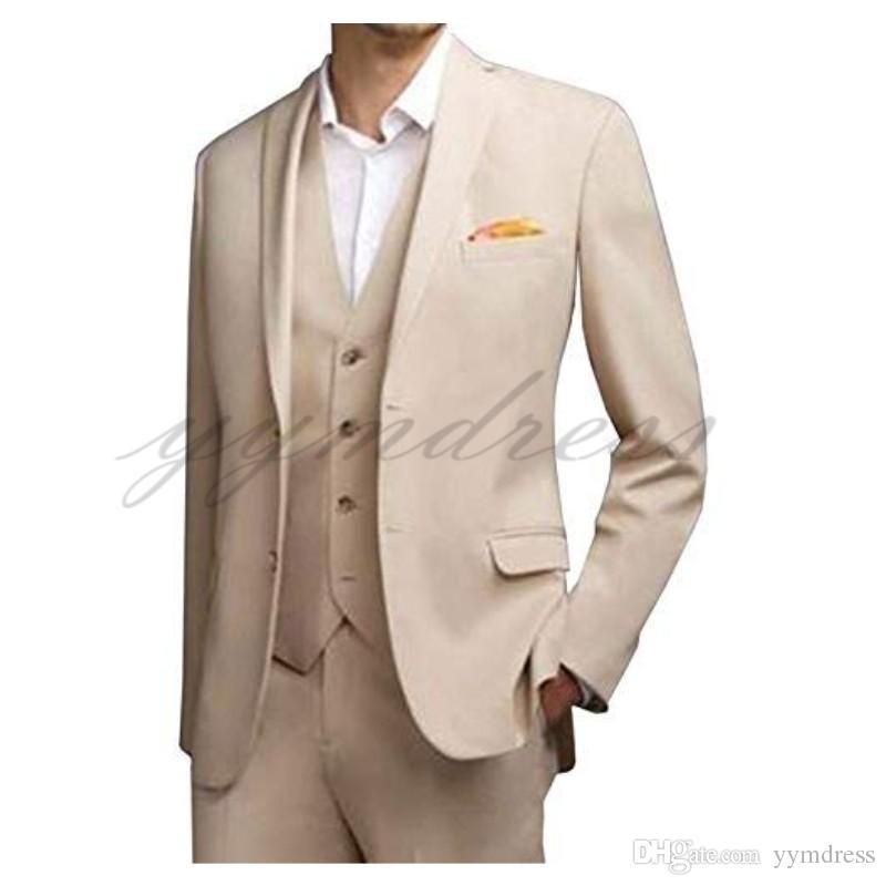 Beige Summer Beach Wedding Suits Two Button Men Suits Groom Tuxedos Notched Lapel Groomsman Suit (Jackets+Pants+Vest)