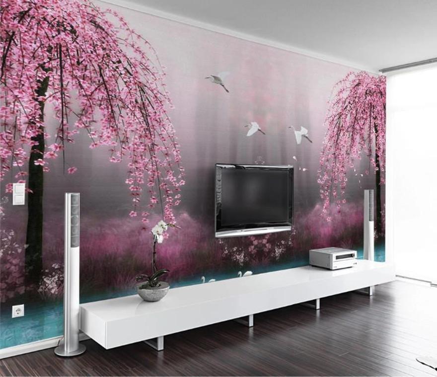 Encargo del papel pintado 3D 3D Mural salón tv dormitorio fondo del papel pintado de la fantasía de color rosa cereza flor de lago de los cisnes mural del papel pintado