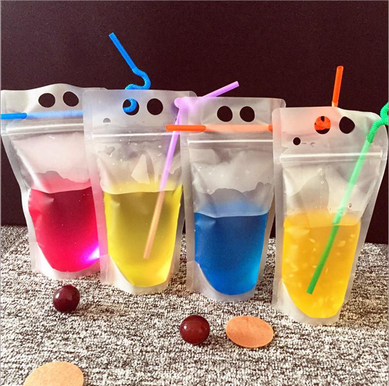 500/750ml Drink Pouches Bags frosted Zipper Stand-up Plastic Drinking Bag with straw Reclosable Zipper Heavy Duty Hand-held Translucent