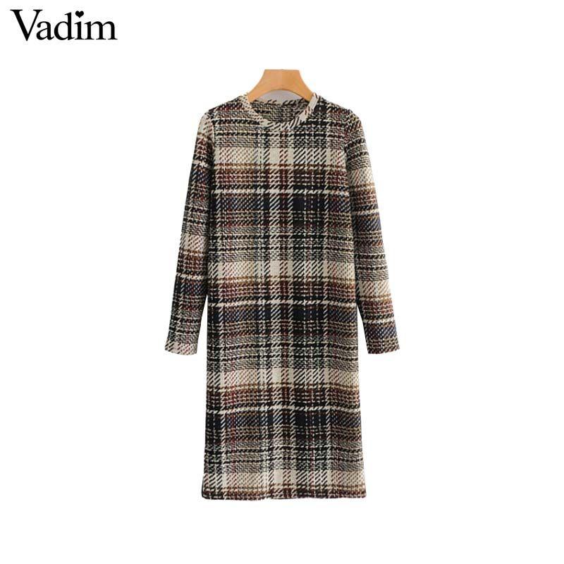 Toptan kadınlar chic ekose balıksırtı elbise uzun kollu o boyun sıkı vintage kadın casual diz boyu elbiseler vestidos QA768