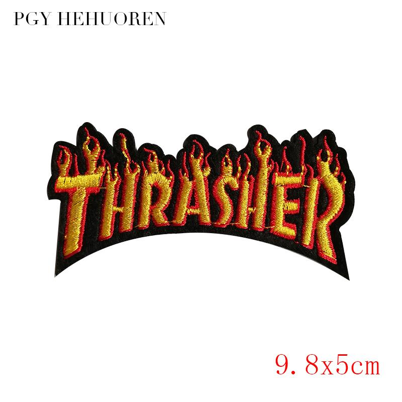 PGY Thrasher letter embroidery patch logo DIY Iron-On clothing badge fashion creative rumor decorative jacket for children