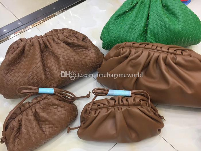 New Arrival Brown Boar Cowhide Genuine Leather Cloud IT Bag Hand Woven Calfskin Leather Women's Party Bag Designer Cluth Bag 4 Style High