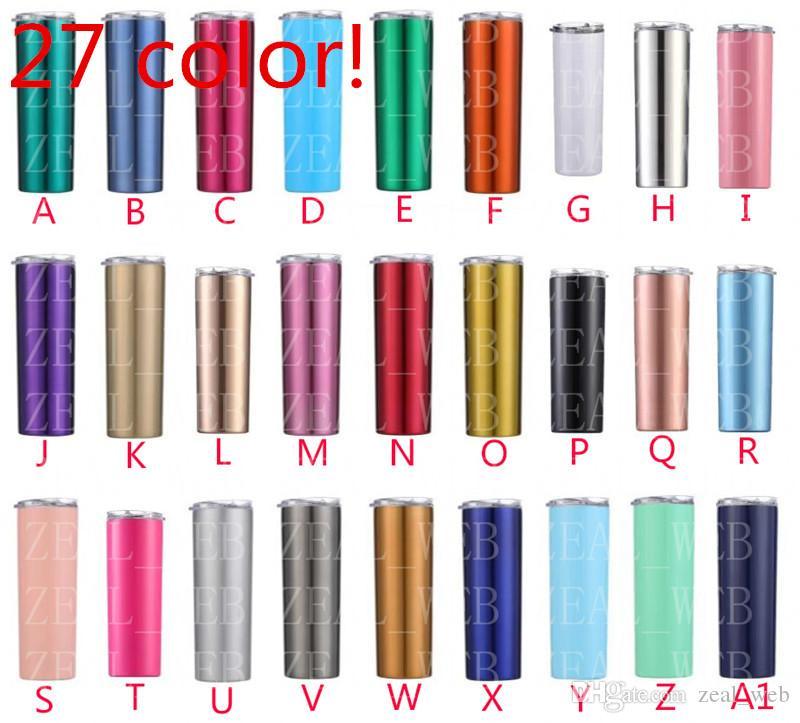 المعدنية اللون 20 أوقية نحيل بهلوان سلس الفولاذ المقاوم للصدأ سليم بهلوان مزدوجة الجدار فراغ معزول بهلوان مع غطاء مانعة للتسرب و