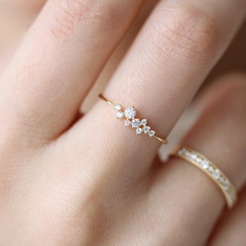 New Arrival Trendy Japanese Minimalist Snowflake Crystal Rhinestone Rings Elegant Fashion Wedding Engagement Jewelry Women Gift