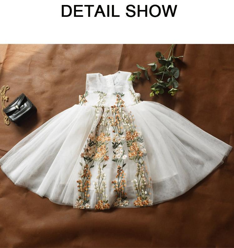 Enfants Designer Dentelle Dace Robe Filles Princesse Robes Filles Mode Robe brodée Enfants Luxury Summer Jupes 2020 Nouveau