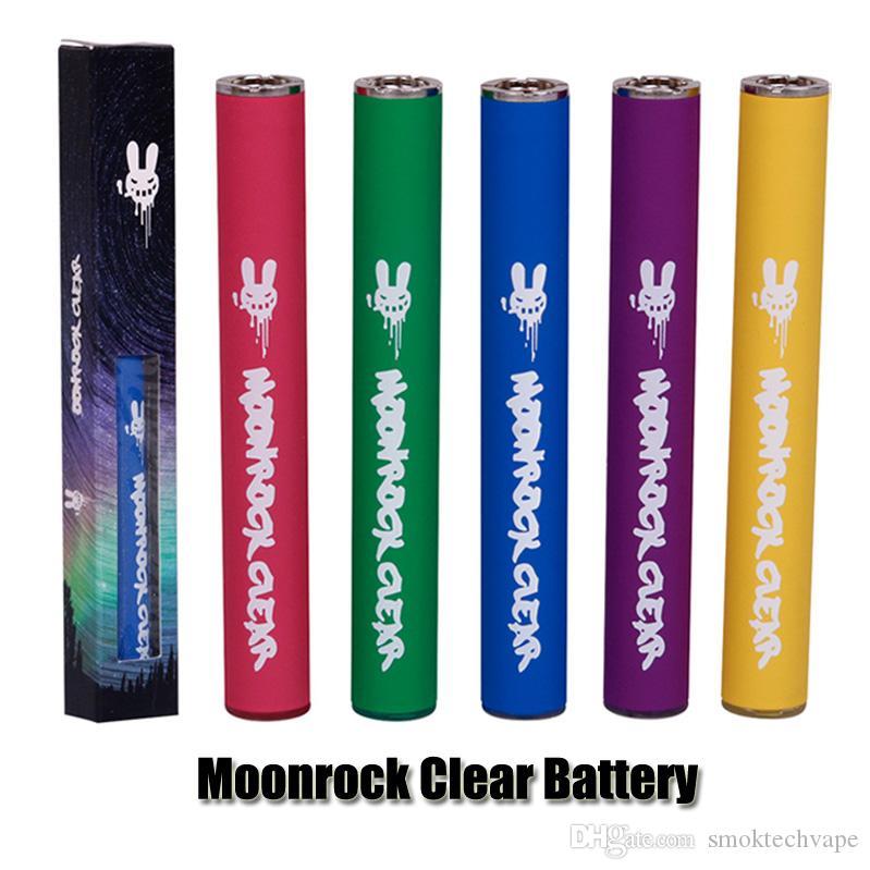 Moonrock Clear Battery 350mAh 10.5mm 510 Bud Touch LED Batterie Léger Vape Pen pour Bobby Bleu Razzle Dazzle Cartouches Cartouche 7 Couleurs