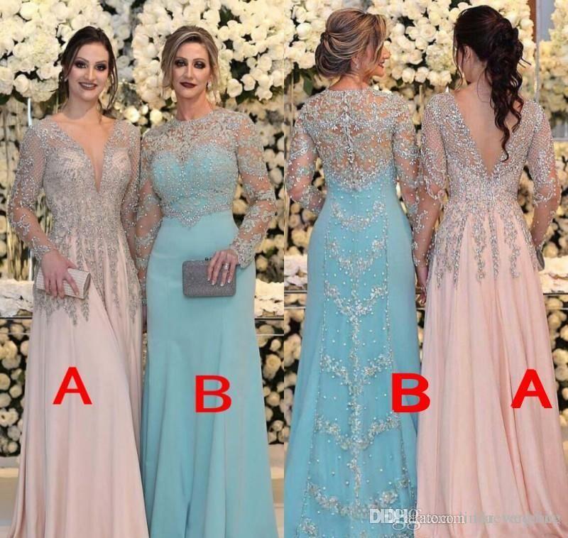 2019 년 신부 드레스의 파란 어머니 인어 깎아 지른 긴 소매 공식적인 Godmother 저녁 결혼식 파티 게운 플러스 크기 사용자 정의