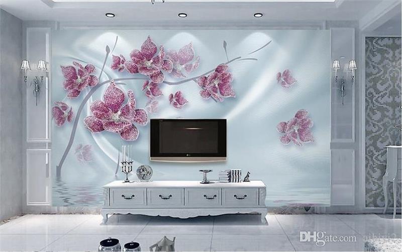 Personalizado 3D Foto Papel De Parede Mural Sala de estar Sofá TV Backdrop Mural Diamante Flores De Seda Jóias Imagem Papel De Parede Mural Etiqueta Home Decor
