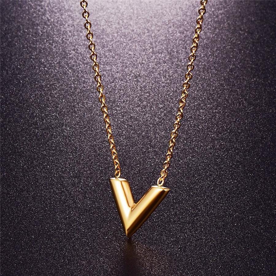 Martick 316L нержавеющая сталь золото-цвет V письмо Shap кулон ожерелье звено цепи ожерелье ювелирные изделия высшего качества для девочки