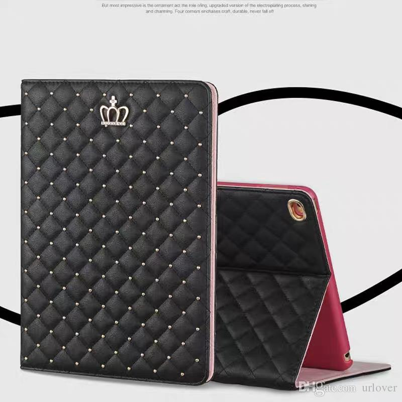Diamond Bling Leather Stand Case For iPad Mini 1 2 3 Crown Pearl Plaid Foldable Cover For iPad 2 3 4 Tablet Accessories
