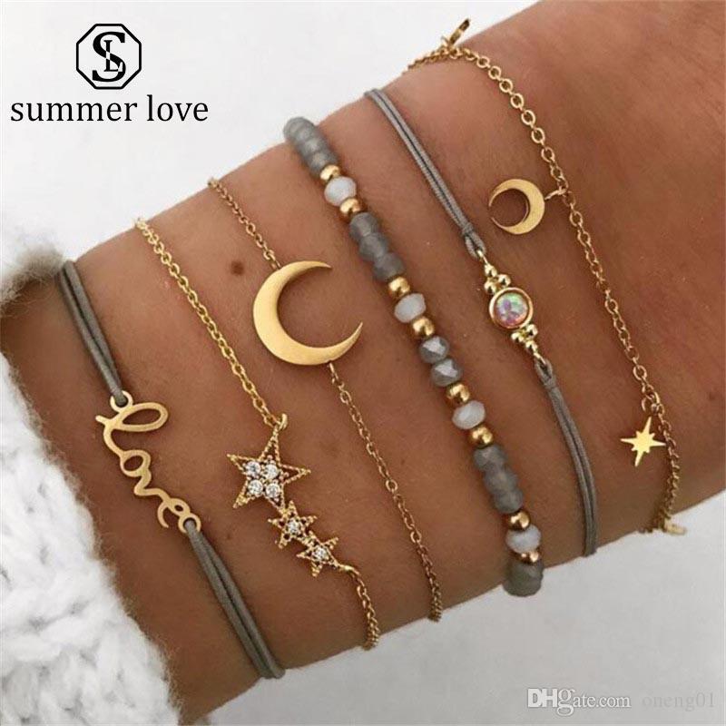 6 adet Kadınlar Klasik Katmanlı örgülü Halat Zincir Bileklik Seti Takı için / set Yıldız Ay Aşk Kristal kolye Altın Akrilik boncuk bilezik