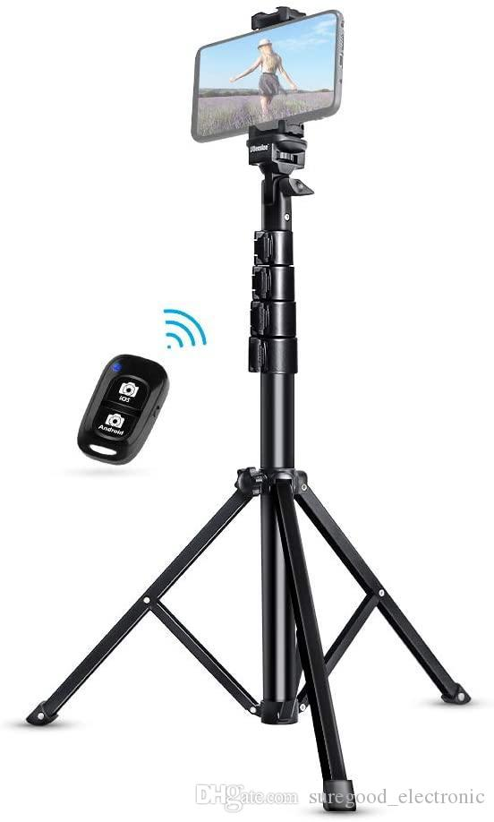 Soporte selfie palillo de trípode extensible iPhone Android Teléfono trípode con Bluetooth remoto trípodes autofotos Heavy Duty aluminio ligero