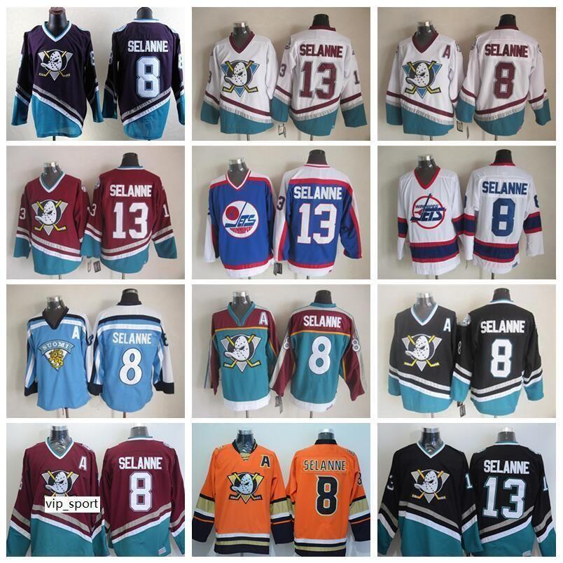 8 Teemu Selanne Jersey Hombres Anaheim Ducks Ice Hockey 13 Teemu Selanne Vintage Jerseys Retro Mighty Purple Red White Black Orange