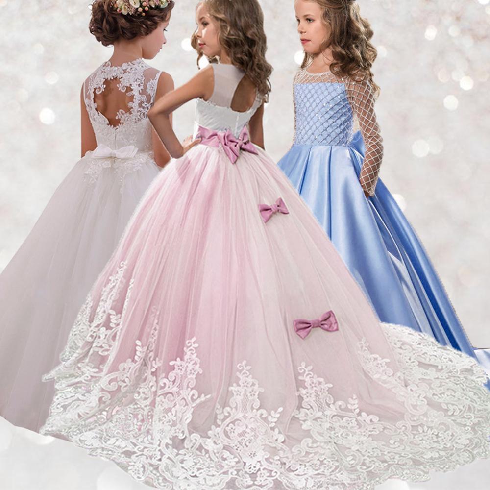 Высокое качество летней девушки цветка платья детей детской одежды принцессы Костюм партии младенца Свадебное платье Платье Comunion T200107