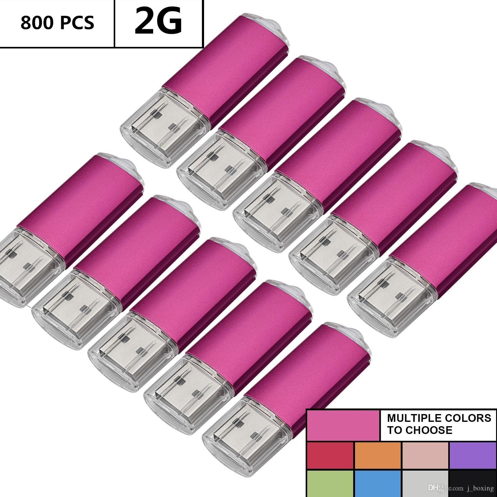 Wholesale Bulk 800PCS 2GB USB Flash Drives Rectangle Memory Stick Storage Thumb Pen Drive Storage LED Indicator for Computer Laptop Tablet