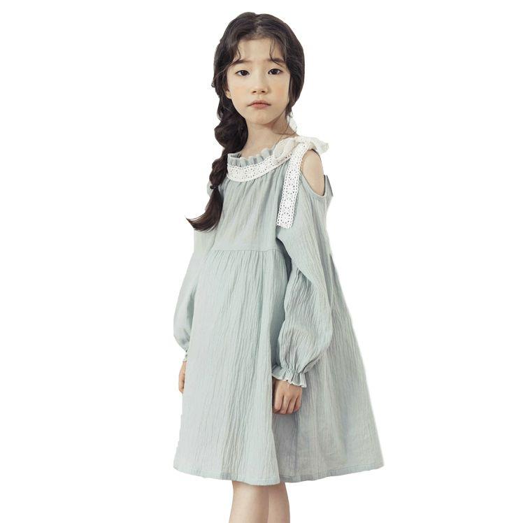Nuevo vestido de primavera 2019 Vestidos para niños para niñas Vestido de niñas de encaje de manga larga sin tirantes Ropa para niños Ropa de niña