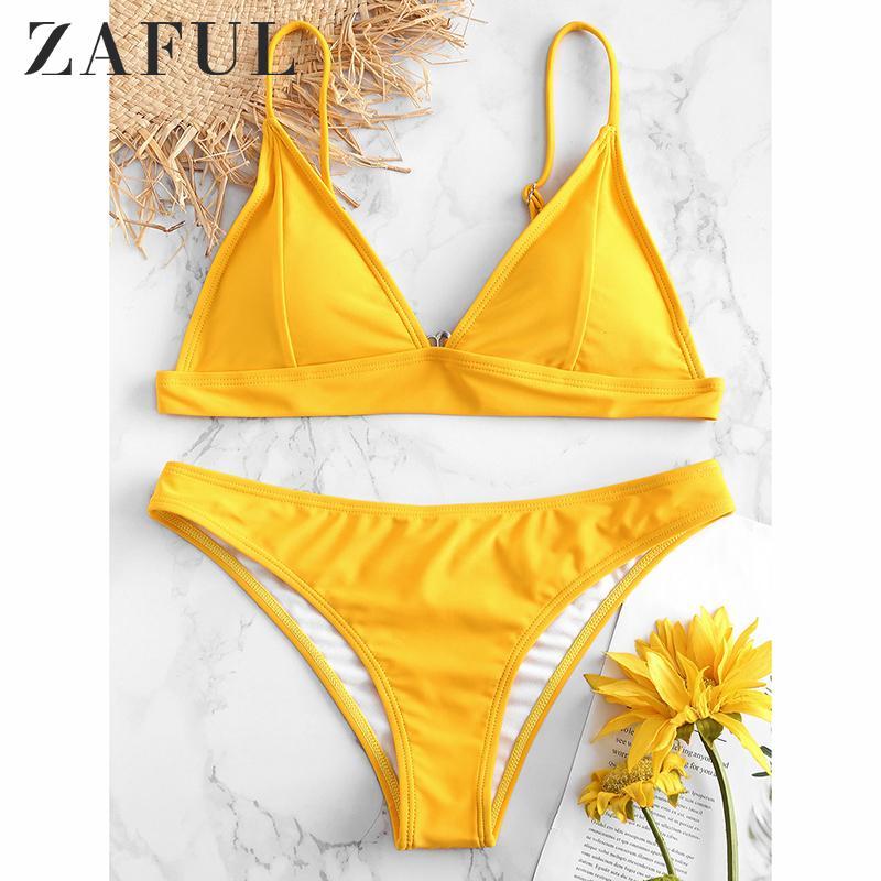 ZAFUL 2019 nuove donne Solid Bikini Push-up non imbottita il reggiseno del costume da bagno Costumi da bagno Triangle Bagnante Suit Swimming Suit Y200319 biquini