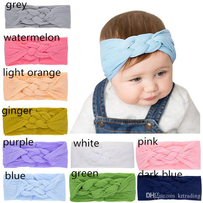 10 Colors Nylon Braids headband Baby Girls cute solid color hearwear 2019 new fashion cable pattern head accessories ins hot children's day