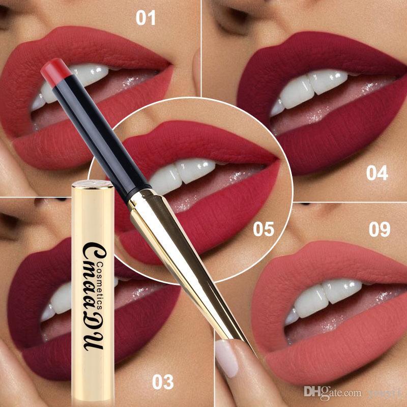 Barra de labios mate CmaaDu magia antiadherente metal mate nacarado brillo de labios líquido impermeable atractivo Velvet Lip Gloss