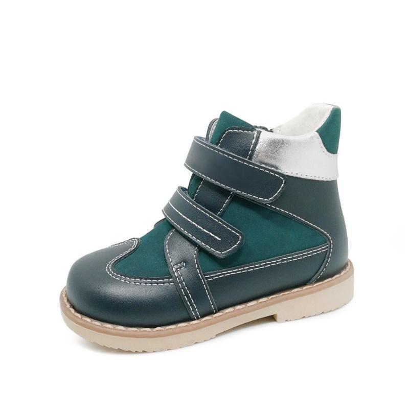 Ortoluckland 소년 정품 가죽 신발 정형 신발 어린 아이 루프 캐주얼 부츠 내반 된 Valgus 지퍼 신발 후크