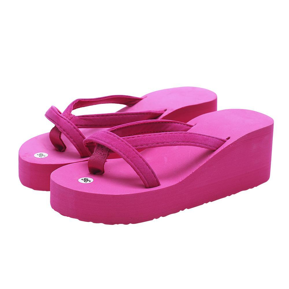 Summer New Fashion Slipper Flip Flops de femmes plage Wedge semelle épaisse Chaussures à talons Beach Party Toe Sandales Peep Glissades 10