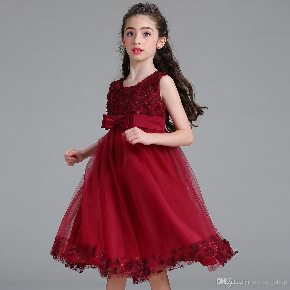 Сладкая девушка цветочные принцессы вечеринка платье лето детей детей свадебный день рождения платья младенца без рукавов таутку платье подарок