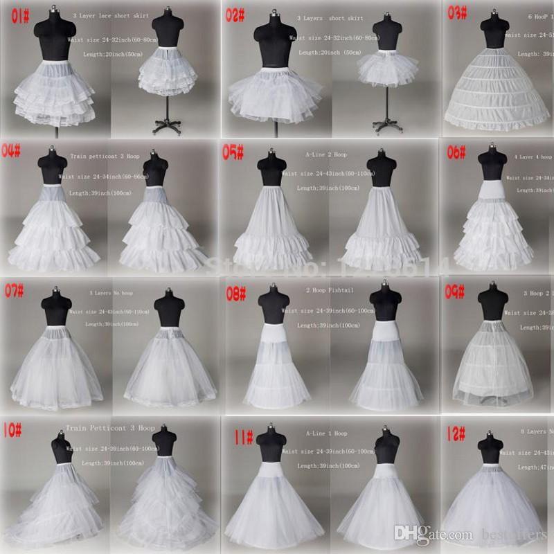 10 Stile A Buon Mercato Bianco A Line Ball Gown Mermaid Prom Wedding Wedding Sottoveste Sottogonna Crinolina Accessori da sposa Da sposa scivolo Tutu Gonna