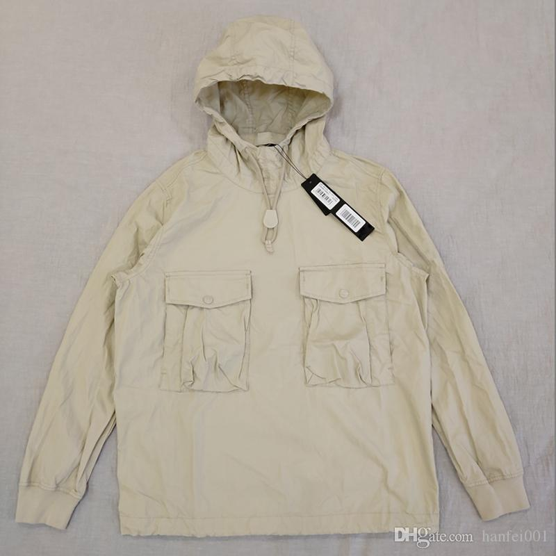 19SS 639F2 GHOST ADET SMOCK / ANORAK PAMUK NAYLON TELA Kazak Ceket Erkekler Kadınlar Coats Moda Kabanlar HFLSJK349