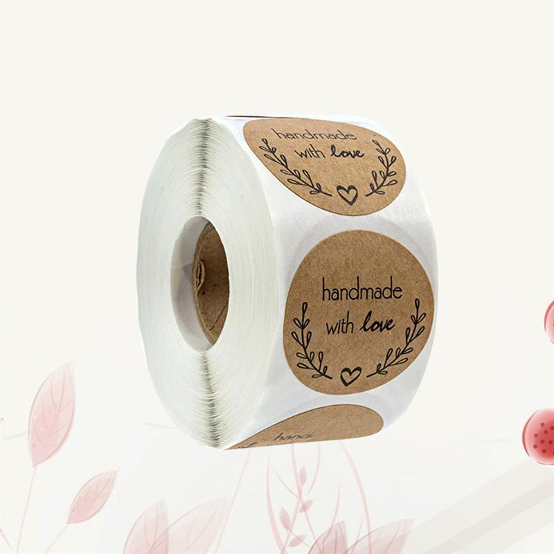 """""""500 Sheets/roll Round Labels Packaging Sticker for Candy Bag Gift Box Packing Bag Wedding Thanks Stickers Handmade Kraft Paper"""""""