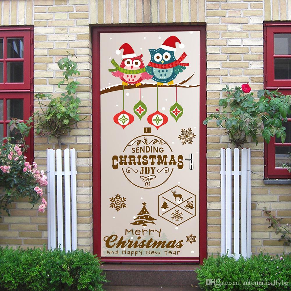 New2Pcs / Set Merry Christmas Owl Door Pegatinas Para Habitación de Niños Dormitorio Autoadhesivo Wallpaper Home Decor Decal Impermeable Poster