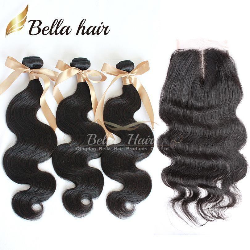 Бразильские волосы топ закрытия (4x4) средняя часть кружева закрытие с пучками наращивание волос 3шт объемная волна волнистые волосы утки ткет Bellahair